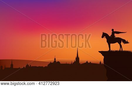 Fairy Tale King Or Prince Riding Horse On A Cliff Above Medieval City - Vector Silhouette Of Fantasy