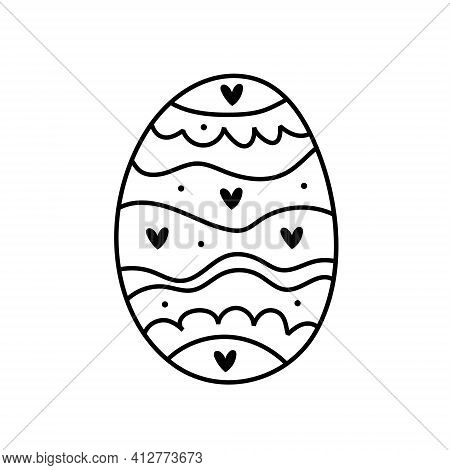 Easter Egg With Hearts And Waves Doodle Line Art Design. Black Monochrome Icon Element. Isolated On