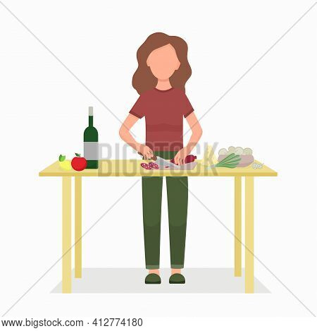 Woman Cooks At Home In The Kitchen. The Girl Will Cut The Sausage, Cook Dinner Or Lunch. Vector. Coo