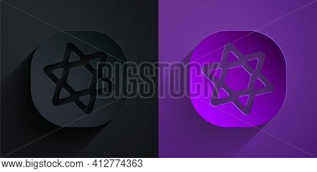 Paper Cut Tarot Cards Icon Isolated On Black On Purple Background. Magic Occult Set Of Tarot Cards.