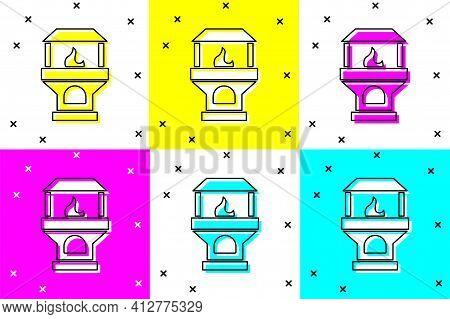 White Brick Stove Icon Isolated On White Background. Brick Fireplace, Masonry Stove, Stone Oven Icon