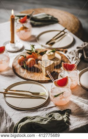 Cocktail Romantic Table Setting, Home Lockdown Party Concept