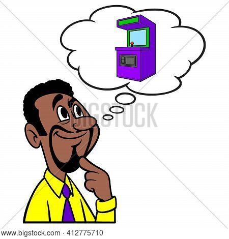 Man Thinking About An Arcade Machine - A Cartoon Illustration Of A Man Thinking About An Arcade Mach