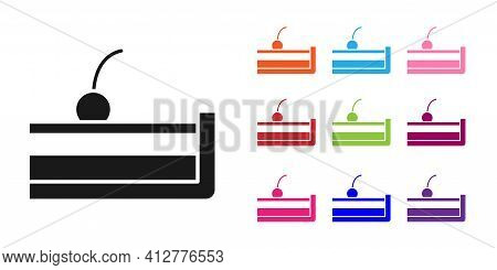 Black Cherry Cheesecake Slice With Fruit Topping Icon Isolated On White Background. Set Icons Colorf
