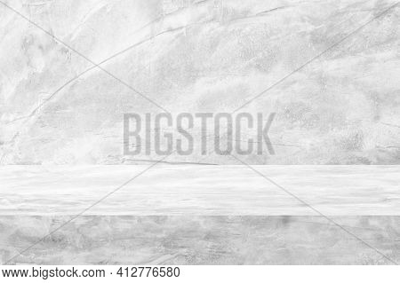 Concrete Texture Table Product Display Template Background With Copy Space.