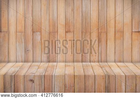 Wooden Texture Table Product Display Template Background With Copy Space.