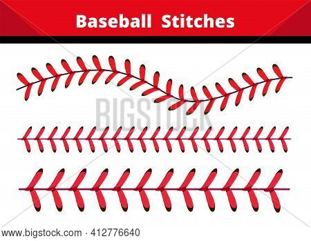 Baseball  Stitches  On A White And Black  Background , Vector Design.