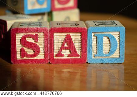 Sad Children Distress Pandemic Mental Illness Covid Victims Wood Blocks