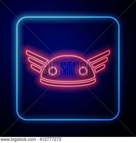 Glowing Neon Helmet With Wings Icon Isolated On Black Background. Greek God Hermes. Vector