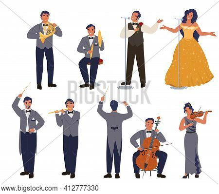 Opera Theater Singer And Musician Character Set, Flat Vector Illustration. Classical Music Concert,