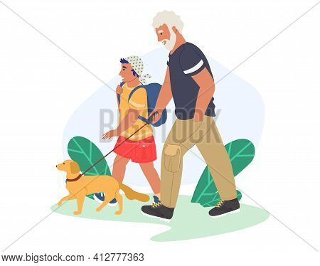 Grandfather Walking With Grandson And Dog In The Park, Flat Vector Illustration. Grandparent Grandch
