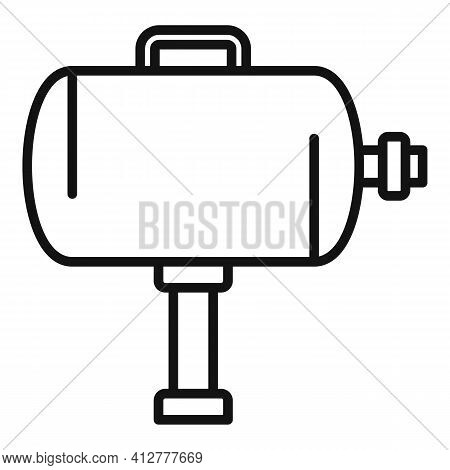 Tire Fitting Air Compressor Icon. Outline Tire Fitting Air Compressor Vector Icon For Web Design Iso