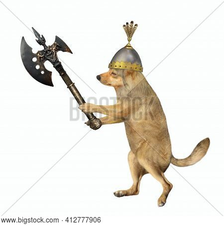A Beige Dog Warrior In A Helmet Fights With A Battle Axe. White Background. Isolated.