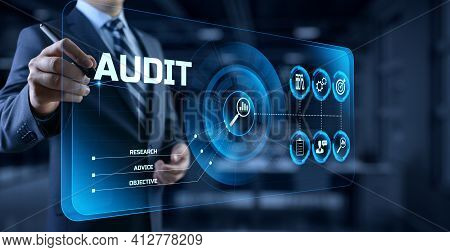 Audit Auditor Financial Service Compliance Concept On Screen.