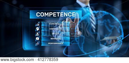 Competence Skills Business And Personal Development Concept. Businessman Pressing Button On Screen.