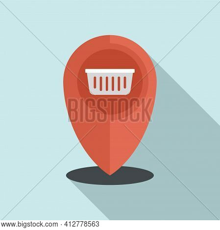 Shop Gps Pin Icon. Flat Illustration Of Shop Gps Pin Vector Icon For Web Design
