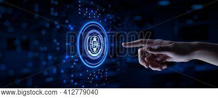 Ai Artificial Intelligence Machine Deep Learning Neural Network Cyber Brain Technology Concept. Hand