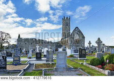 Claregalway Friary Is A Medieval Franciscan Abbey Located In The Town Of Claregalway, County Galway,