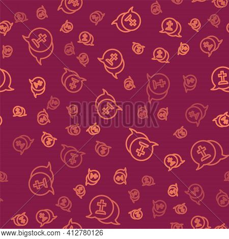 Brown Line Man Graves Funeral Sorrow Icon Isolated Seamless Pattern On Red Background. The Emotion O