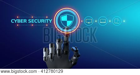 Cybersecurity Data Privacy Hacker Attack Protection. Information Technology Internet Concept. 3d Ren
