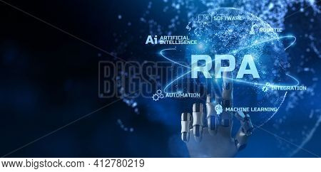 Rpa Robotic Process Automation Innovation Technology Concept. Robot Pressing Virtual Button. 3d Rend