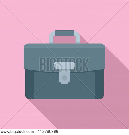 Leather Briefcase Icon. Flat Illustration Of Leather Briefcase Vector Icon For Web Design