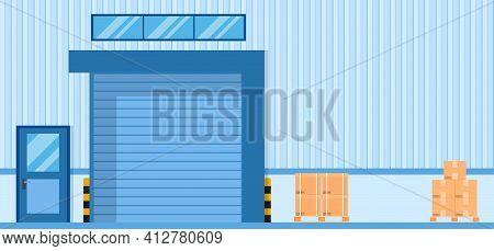Roller Door Or Roller Shutter. Elements Of Architecture , Factory Door Background