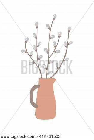 Cute Hand Draw Gray White Pussy Willow Twigs In Ceramic Vase Isolated On White Background, Eps 10 Ve