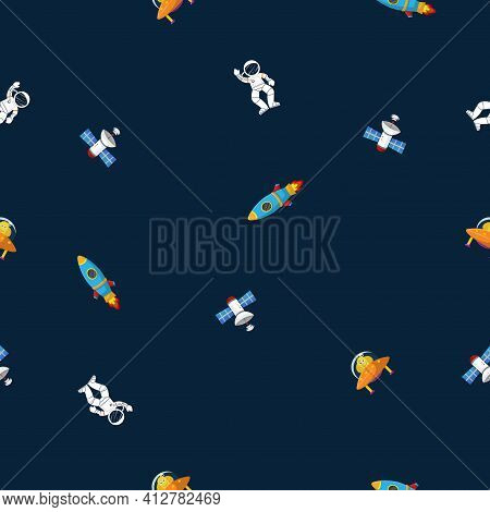 Astronaut With Rocket And Alien In The Open Space