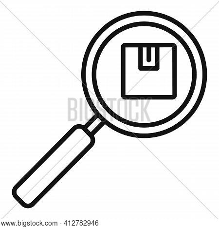Search Missed Parcel Icon. Outline Search Missed Parcel Vector Icon For Web Design Isolated On White