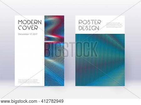 Minimal Cover Design Template Set. Red Abstract Li