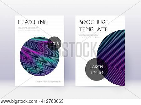 Trendy Cover Design Template Set. Neon Abstract Li