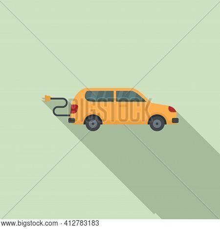 Plug In Hybrid Car Icon. Flat Illustration Of Plug In Hybrid Car Vector Icon For Web Design