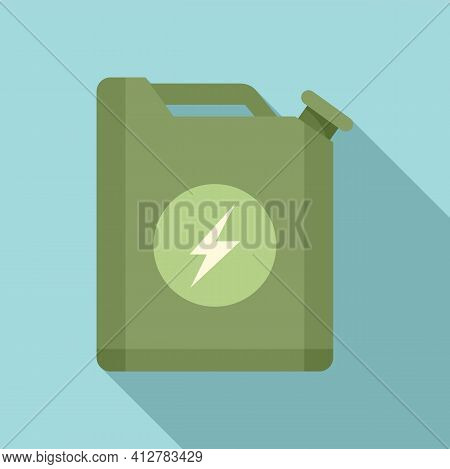Hybrid Car Fuel Canister Icon. Flat Illustration Of Hybrid Car Fuel Canister Vector Icon For Web Des