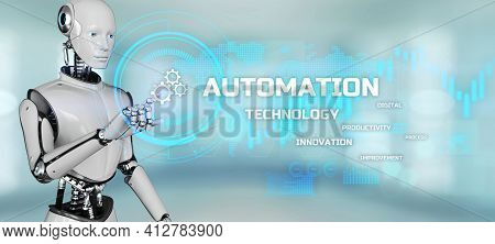 Robotic Business Process Workflow Automation Rpa. Robot Pressing Button On Screen 3d Render.