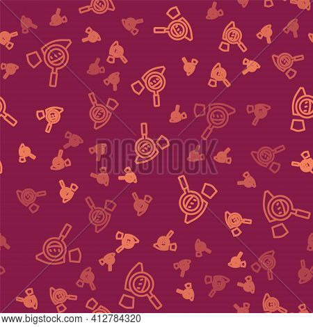 Brown Line Magnifying Glass With Footsteps Icon Isolated Seamless Pattern On Red Background. Detecti