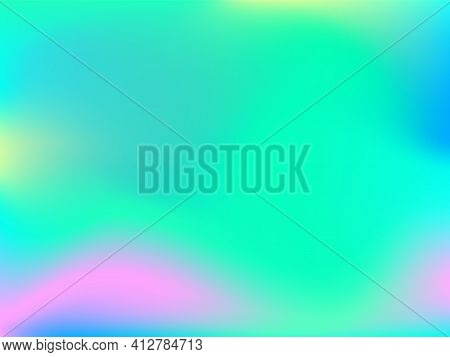 Holographic Background. Bright Smooth Mesh Blurred Futuristic Pattern In Pink, Blue, Green Colors. F