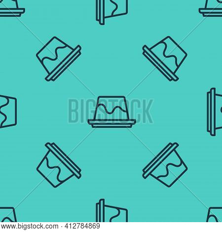 Black Line Pudding Custard With Caramel Glaze Icon Isolated Seamless Pattern On Green Background. Ve