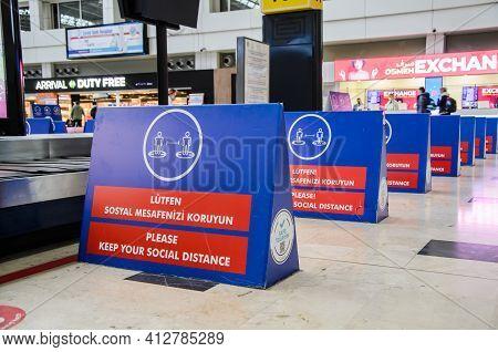Antalya, Turkey: 03.15.2021 - Antalya International Airport Baggage Claim. Separating Fences Next To