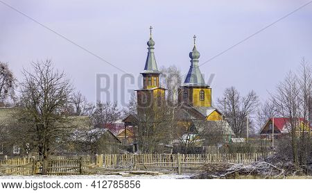 View Of The Outskirts Of A Belarusian Village In January After A Morning Snowfall. Landscape From Th