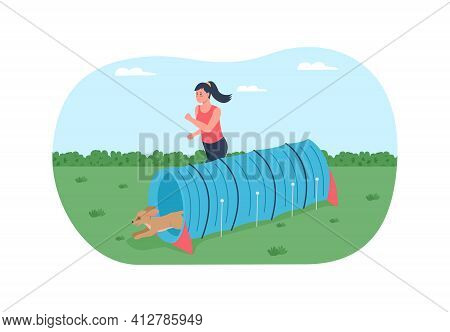 Obstacle Course For Training Dogs 2d Vector Web Banner, Poster