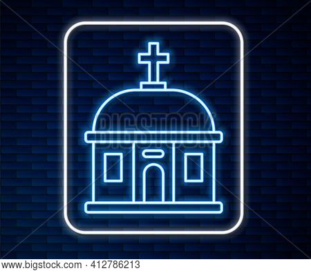 Glowing Neon Line Santorini Building Icon Isolated On Brick Wall Background. Traditional Greek White