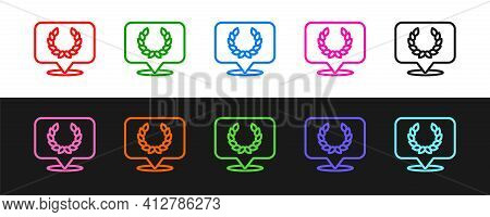 Set Line Laurel Wreath Icon Isolated On Black And White Background. Triumph Symbol. Vector
