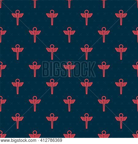 Red Line Caduceus Snake Medical Symbol Icon Isolated Seamless Pattern On Black Background. Medicine