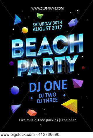 Dj Beach Party, Night Club Show Poster - Stock Vector
