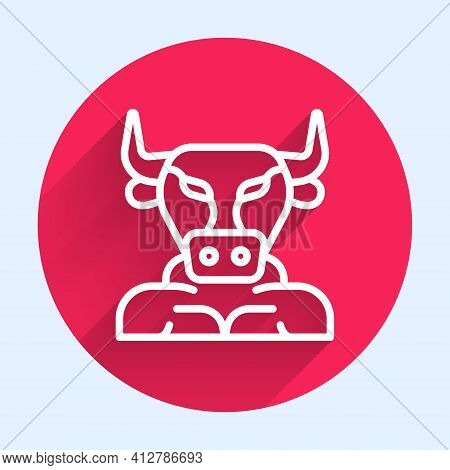 White Line Minotaur Icon Isolated With Long Shadow. Mythical Greek Powerful Creature The Half Human