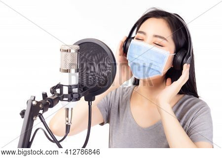 Portrait Young Asian Woman Recording Song In A Recording Studio Or Voice Actor Female Dub And Record