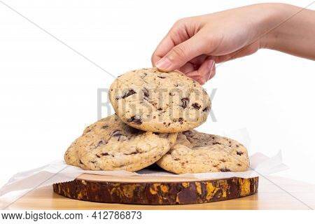 Delicious Homemade Chocolate Chip Cookies, Someone Pick Chocolate Chip Cookies For Eating. Yummy Coo