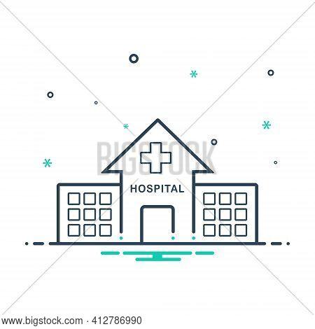 Mix Icon For Hospital Asylum Clinic Dispensary Building