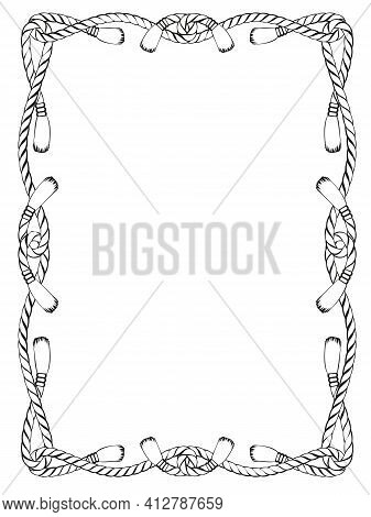 Rope Knot Frame Black And White Isolated